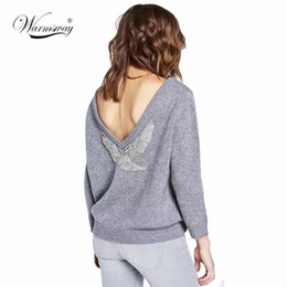 Animal Handmade Canada - High Quality 2017 Spring New Runway Sweater Fashion Handmade Eagle Beading Tops Women Pullovers Sexy Backless Knitwear WS-019