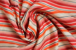 Pure Silk Clothing Canada - 100% pure mulberry soft satin Striped red silk Habotai Silk Fabric scarf skirt dressmaking material Clothes 5 yard I196