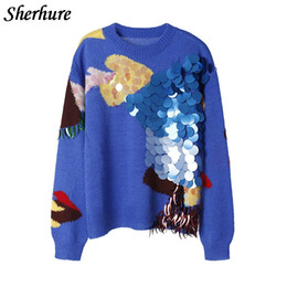 b4f6e41453e01b 2017 Fashion Sequins Cartoon Embroidery O-Neck Blue Women Sweater and  Pullovers Autumn Women Pullovers Jumper Pull Femme