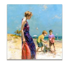 Figure Paintings Australia - Mother Child Oil Painting Figure Hand Painted Square Wall Decorative Pictures Wall Decor Canvas Painting Art