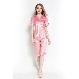 3b599ae09b Autumn Silk Pajamas Sets Pretty Pyjamas Women Sleep Sexy Wear Tops And Shorts  Female Satin Lingerie Home Suit Cute Pijama Mujer