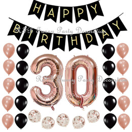 30th 40th 50th 60th Birthday Party Decoration Supplies With Black Happy Banner 40inch Rose Gold Number Balloons