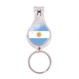 $enCountryForm.capitalKeyWord UK - 2018 Fashion Argentina Flag Multifunctional Keychain Silver Glass Dome Nail Clipper Keyring Art Photo Jewelry Nail Clippers