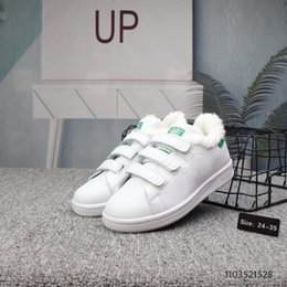 Discount euro fashion shoes - Kids fashion stans smiths cf winter fur Causal Shoes Boys Girls Low Top Suede Trainers sneakers Size Euro 24-35