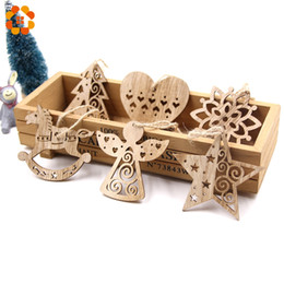 $enCountryForm.capitalKeyWord NZ - 6PCS European Hollow Christmas Snowflakes Wooden Pendants Ornaments for Xmas Tree Ornament Christmas Party Decorations Kids Gift