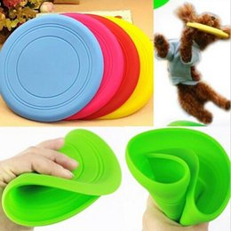 Silicone Toys Australia - wholesale Multi Color Fantastic Silicone Pet Dog Chew Toy Frisbee Training Flying Disc Tide Durable Indestructible Strong