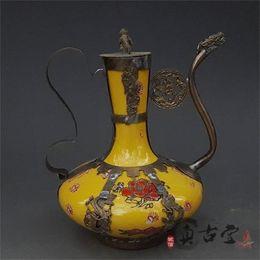 Ancient fAn online shopping - Creative Flagon Teapot Home Decor Ornament Gift Antiques Collection Ancient Exquisite Antique Tibet Silver Green Porcelain Arts Crafts yz