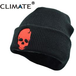Cool Winter Beanies For Men Australia - CLIMATE Men Winter Warm Knitted Hat Beanies Skeleton Skulls Cool Black Hip hop Warm Knitted Hat Caps Cap For Adult Men
