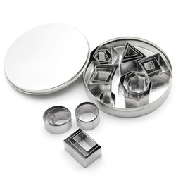 Square Shape Cutter Australia - 24pcs set Stainless Steel Cookie Cutter Mold Round Square Geometric Shapes Pastry Biscuit Fondant Mold DIY Cake Decorating Tools