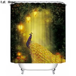 Discount shower curtains modern - LzL Home gorgeous peacock elegant swan pattern shower curtains luxury fabric bathroom curtain waterproof printed bath de