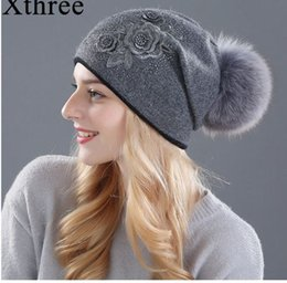 fa0424148 Xthree women's winter hat Rabbit fur wool knitted hat the female of the  mink hats for women beanies
