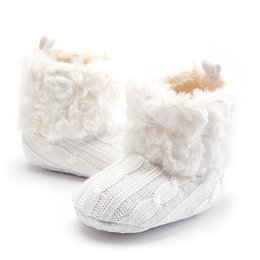 Crochet Baby Snow Booties Australia - Faux Fleece Infant Baby First walkers Crochet Knit Boots Booties Toddler Girl Winter Snow Crib Shoes 0-18 Months