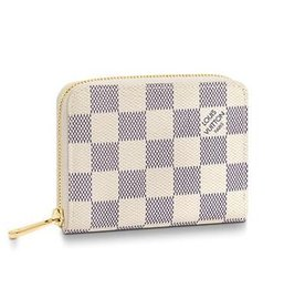 Cotton Key Australia - N63069 ZIPPY COIN PURSE Grid pattern white Real Caviar Lambskin Chain Flap Bag LONG CHAIN WALLETS KEY CARD HOLDERS PURSE CLUTCHES EVENING