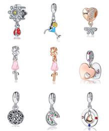 Pizza Love NZ - Wholesale 20Pc Pizza Cocktail glass Rose Daughter Heart Flower DIY Loose Bead Jewelry Marking Charm Fit Pandora Bracelet European Women Gift