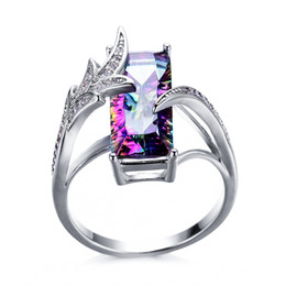 Ring Tin Australia - Women Luxury Mystic Zirconia Cubic Zirconia 925 Silver Plated Women Jewelry Gift Ring US Size 6-10