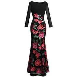 Angel-fashions Women s Long Sleeve Rose Pattern Sequin Black Formal Dress  Evening Dresses Party Prom Gown 396 c96aab44e58a