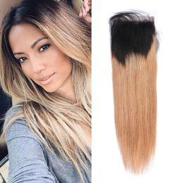 Human Hair 27 Australia - T 1b 27 Straight Ombre Human Hair Closures with Baby Hair Peruvian Human Hair 4x4 Lace Closure FDshine