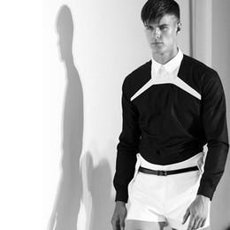 Wholesale british plus size clothing for sale – plus size S XL New Gd fashion British Black and white Collage long sleeve shirt men s clothing plus size singer costumes