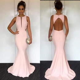 f493a88279f 2019 Sexy Cut Out Back Pink Mermaid Prom Dresses Jewel Neck Sleeveless Satin  Backless Simple Concise Evening Gowns BA7877