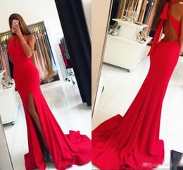 Legging Back NZ - 2018 Red Prom Dresses Leg Slits Backless Sweep Train Side High Split Evening Dresses Long Pleats Sexy Back Party Dress