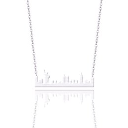 York Necklace UK - Wholesale 10pcs Fashion Jewelry Stainless Steel Gold Chain New York Skyline Cityscape Necklaces Pendants For Women Party Gift