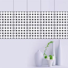 Mosaic Wall Stickers NZ - 20*20cm Black White Mosaics Self-Adhesive Waist Line Wall Sticker Bathroom Tile Floor Stickers Muraux Decor Autocollant Mural