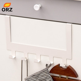 holder for door 2019 - ORZ 5 Hooks Kitchen Cabinet Rack Door Hook Towel Holder Organizer Cupboard Storage Hanger for Sundries Clothes Bag Holde