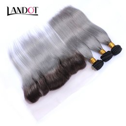 virgin chinese straight hair 2019 - 9A Ombre Grey Brazilian Straight Virgin Hair Weaves 3 Bundles With Lace Frontal Closures Ombre 1B Grey Peruvian Malaysia