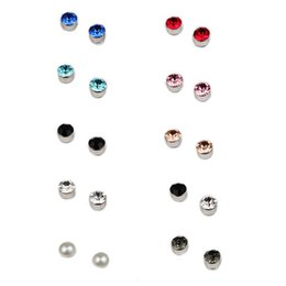 China Stainless Steel Magnet Crystal Stud Earrings No Hole Ear Clip Health Fashion Jewelry for Men Women Will and Sandy Drop Ship 350079 cheap rhinestone clips suppliers