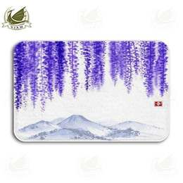 Vixm Chinese Landscape Painting Green Trees And Blue Mountains Welcome R Mat Rugs Flannel Anti-Slip Entrance Indoor Kitchen Bath Carpet