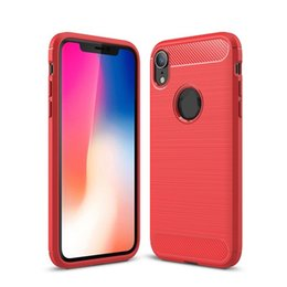 Free Cellphone Cases UK - For Iphone Xs,Xs Max, Xr Carbon Fiber brushed TPU Silicone cellphone Case Slim Soft Anti-slip with free shipping