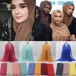 Discount cotton head scarfs Women Maxi Hijabs Shawls Oversize Islamic Head Wraps Soft Long Muslim Frayed Crepe Premium Cotton Plain Hijab Scarf 56 C