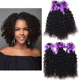 Discount human hair weave packs - Virgin Human Hair Kinky Curly 3 Wefts Brazilian Peruvian Malaysian Unprocessed Pack of 3 Bundles Remy Hair Weave for Bla
