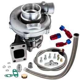 T3 / T4 T04E .57 A / R Performance Turbotcharger + Kit de línea de retorno de alimentación de aceite 300 + HP Oil Fromeed Turbo para 1.6-2.5L Wastegate interno en venta