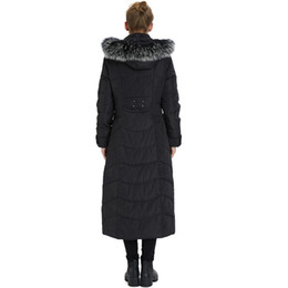 Wholesale womens hooded fur down jacket resale online - Womens Duck Down Coat Feather Jackets Winter Long Down Parkas Real Fur Hooded Thick Warm Snow Tops Plus Size Overcoat Black