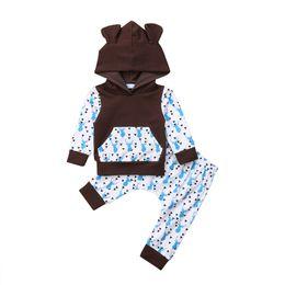 01c206e87 Newborn Baby Boy Girls Deer Pattern Autumn Clothes Set Baby Boys Girl Long  Sleeve Hooded Tops Sweatshirt Long Pants 2Pcs Outfits