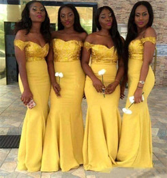 black off shoulder lace NZ - Yellow Lace Bridesmaid Dresses Mermaid Satin Floor Length Off Shoulder Long African Formal Prom Dress for Black Girls Beaded Party Gown