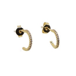 White gold pierced earrings online shopping - fashion simple round circle cz circle band thin skinning mini hoop minimal delicate girl women multi piercing Gorgeous lovely gold earring