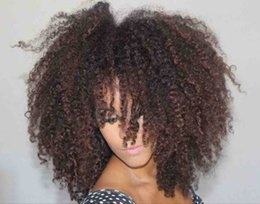 Afro kinky lAce wigs online shopping - 250 Density Afro Kinky Curly b color Human Hair lace front wig For Black Women Natural Hairline