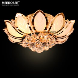 Smart Lotus Flower Modern Ceiling Light With Glass Lampshade Gold Ceiling Lamp For Living Room Bedroom Lamparas De Techo Abajur Ceiling Lights & Fans