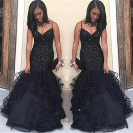 sexy images grils UK - Black Grils Dresses Sequins V-Neck Mermaid Prom Dresses Sleeveless Sexy Back Black Girl Floor Length Party Evening Dresses Gowns Custom Made
