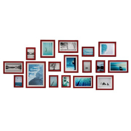 Painted Wall Hangings UK - 17 Pine Wood Piece Photo Frame Wall Gallery Kit Includes: Frames, Art Painting Core,Hanging Wall Template,Home And Wall Decorations