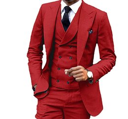red tuxedos NZ - Custom Made Groomsmen Red Groom Tuxedos Peak Lapel Men Suits Wedding Best Man Bridegroom (Jacket + Pants + Vest + Tie) L211