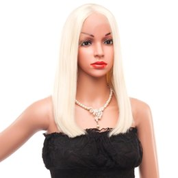 Freestyle Hair Australia - REAMIC Blonde Lace Front wig Synthetic Straight Hair Half Hand Tied Wig for Women Short Bob Wigs Freestyle (Blonde 14 Inches)