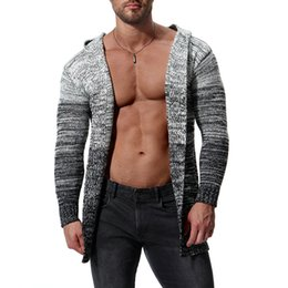 Hooded Sweaters Winter Mens Cardigan Fashion Casual Long Coat Autumn  Knitted Sweaters Sweatercoats Male Embroidery Cardigan Sweater J181036 9bd4a111f