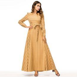 7ca471178c Middle east Elegant Women long sleeve Yellow dresses Ladies Plaid printed casual  party fashion muslim turkish abaya Maxi dress Plus Size 4XL