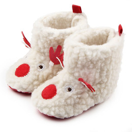 34f6d22a4b5 New Christmas Home Walking Boots Kids Newborn Infant Classic ELK Winter  Super Warm Slip-On Soft Baby Crib Booties Shoes