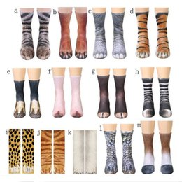 Objective 2018 Novelty 3d Stamping Animal Foot Paw Feet Crew Socks Adult Digital Simulation Socks Unisex Tiger Dog Cat Sock Hiking Clothings