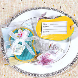 gift idea wholesale Australia - 20PCS Flip Flop Luggage Tag Beach Theme Party Favors Bridal Shower Birthday Gifts Event Keepsake Anniversary Giveaways Ideas