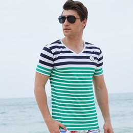 Red Striped T Shirt Wholesale NZ - Summer Striped T Shirts Mens Clothing Casual T Shirts Short Sleeve Tees Tops V Neck 100% Cotton Europe US Plus Size High Quality